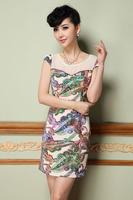 2015 new spring/summer women dress S-XXXL short sleeve casual women dress elegant print dress for fashion lady plus size G89Y