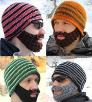 New 2015 Men's Handmade Knitted Beard Hat Mustache Bicycle Mask Crochet Ski Cap Winter Warm Knight Octopus Beanie Free Shipping