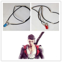 Hot Game Cosplay DMC Red Resin Crystal Pendant Necklace Devil May Cry 5 Dante Vergil PU Leather Chain