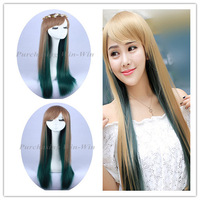 New Fashion! Free shipping! cosplay wig light brown roots green tail  highlights wig