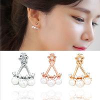 3 Colors Korean female models pentagram jewelry pearl earrings three gorgeous ladies hanging earrings 2015 New for Women