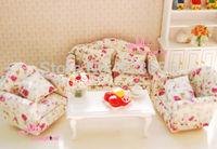 1:12 Dollhouse Miniature Rose ROSE Double&Single Sofa W/Cushion LIVING ROOM 3PCS