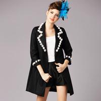 2015 antumn winter women three quarter sleeve single breasted formal work coat outwear overcoat blazer black Plus size S-5XL