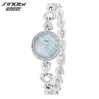 Sinobi Brand Woman Female Crystal Wristwatch with Heart Pattern Strap Frozen Leaf Watch  relojes