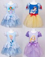 OISK princess girls dress 2015 summer sofia cinderella rapunzel snow white cartoon kids tulle party evening tutu dresses