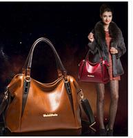 2015 New promotion women's genuine leather+PU Leather handbag bags fashion women's cowhide shoulder bag large bag Wholesale