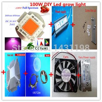 DIY LED power supply+ heatsink+ lens+ fans!! led grow light 120w for full spectrum led grow lights 380-840nm Free Shipping(China (Mainland))