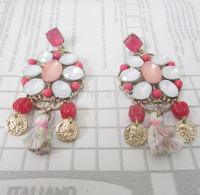 European baroque gold human head stud earrings fashion resin beads earrings for women cotton tassels earring charm jewelry 2014