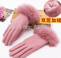 Bu Ta   Autumn and winter plus velvet thick warm fleece gloves points finger    BTST2-201