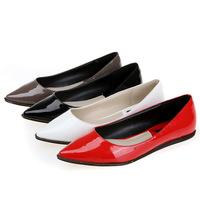 New 2015 women's flats big solid color patent PU women's candy colors flat shoes ballet princess shoes