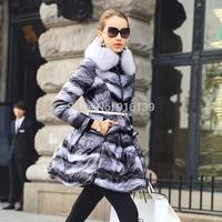 Prase 2015 White Duck Winter Coat Women Slim Long Thickening Down Jacket Luxury Fox Fur Print Overcoat Plus Size XXL Parka