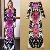 Brand Fashion women's vintage elegant abstract print velvet long-sleeved full length long maxi dress