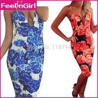 Free Shipping Slim Sleeveless Print Dress Elegant Party Fashion Women Clubwear Midi Dress Two Colors Bandage Celeb Dress 3