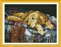 Precise printed counted cross stitch set animal Dog fabric embroidery pattern diy needlework kit 11ct dmc unfinished free ship