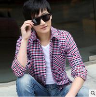 Free Shipping 2014 New Camisa Masculina Fashion Quality Long Sleeve Men Shirt Slim Design Plaid Pure Cotton Casual Shirt