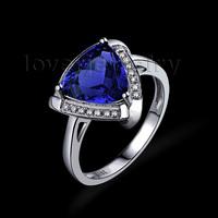 2015 Fashion Jewelry Vintage Trillion 8x8mm Solid 18Kt White Gold Natural Diamond Genuine Tanzanite Engagement Ring WU0103