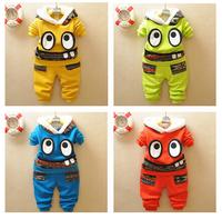 Retail 1 set 2015 new baby boys clothing sets kids Big Eyes long sleeve clothes children Hoodies +pants Cute clothes set TZ51