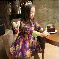 Baby Girl New Spring Elegant Purple Dazzel Bow Long Sleeve Dress, Princess Boutique National Dresses, 5 pcs/lot, Wholesale
