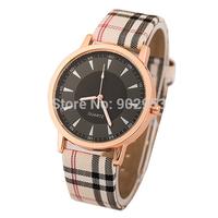 100 pcs Fashion Plaid Leather Strap Watches Simple Style design Quartz Watches Men & Ladies Casual Watch Women dress watches