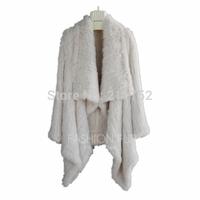 High Fashion  New Retail Wholesale Rex Rabbit fur Jacket 100% Natural Rabbit Fur Knitted Coat waterfall coat