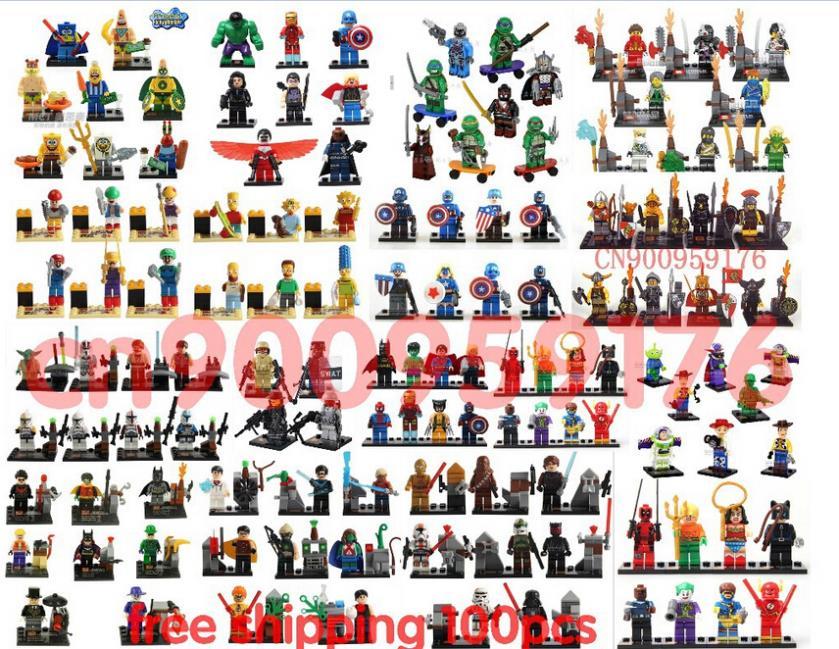 100pcs/lot castle Star War Captain America Super Hero Teenage Mutant Ninja Turtles Minifigure Building Blocks(China (Mainland))