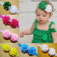 2015 10pieces new fashion sale flower elastic headband girls chiffon Christmas flower headband baby childre hair accessories