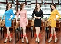 Hot Sale Spring Winter New Brand Women Long Sleeve Fashion Vintage Dress V-Neck OL Plus Size Bodycon Womens Pinup Rivet Dress
