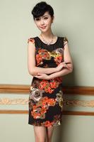 2015 spring/summer new women dress S-3XL short sleeve casual dress elegant lady flowere print dress slim summer dress G84Y