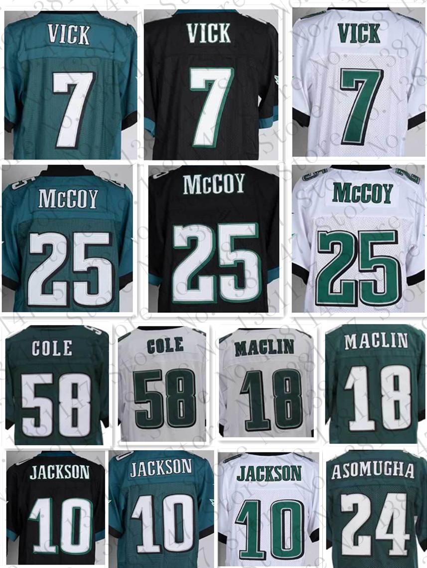 Mccoy 25# men's Elite jerseys Cheap American football jerseys white black green #7 Michael Vick #86 ERTZ(China (Mainland))