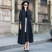 2014 ultra long paragraph fashion loose wool trench coat outerwear