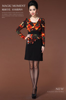 2015 winter/spring new women dress S-3XL long sleeve winter dress for OL lady casual flower print dress women plus size G87Y