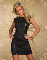 Sexy Women Club Wear Party Nightwear Leather Vestido de festa Patchwork Zipper Dresses Sleeveless Mini Dress