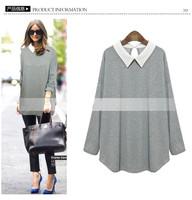 2015 New Women's Fashion Blouses Chiffon Blouse All Combined plus Size Fashion Loose Long Sleeve Turtleneck Sweater High XL-5XL