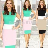 Dropshipping Women Modern Vestidos Zipper OL Wear to Work Bodycon Party Vesitdos  Knee-Length Elegant  Pencil Dress S-XL