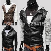Knitted Sleeve Short Design Men's Leather Jacket Slim Hooded Leather Jacket Men Water Wash Motorcycle Leather Jacket M-XXL