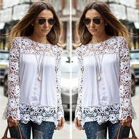 Fashion Female Lace Shirt, Resuliresuli 2014 1PC Remarkable Women Sheer Sleeve Embroidered Lace Crochet Tee Chiffon Blouse Shirt