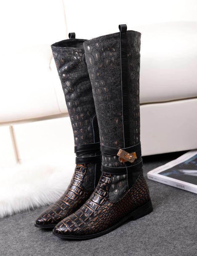 les femmes bottes de moto 2014 boucle de ceinture chaussures appartements cuissardes motif crocodile serpentine velours femmes bottes chaussures femme