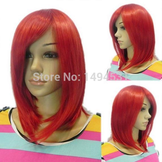 Perfect High-Quality 40cm Bright Hot Red Straight Fairy Tail-Eiza Beautiful Wig BoBo Woman Nice Costume Kanekalon Cosplay W275(China (Mainland))