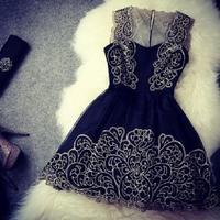 Party dresses women vestidos 2014 new fashion elegant embroidery stitching lace prom dress vestido de festa women dress