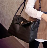 2015 fashion brief fashion loose-fitting black gray shoulder bag large pu leather bag C28-010