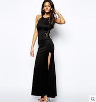 Women back stitching lace halter party dress sexy side split Slim