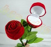 40pcs jewelry boxes Valentine's Day birthday wedding rose ring box earrings box velveteen flower jewelry bag ring holder