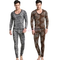 Shino Cotton Men Thermal Set Underwear Wild Leopard Print Suit Keep Warming Long Johns Pants Long Shirt Winter Sleepwear M-XL