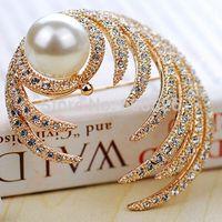 1 Piece Fashion natural pearl Brooch Pins rhinestone maple leaf sweater Jewelry Birthstone Luxury Gift elegant, Item no.:JPB008
