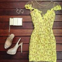New 2014 Yellow Lace Dress Hollow Out Patchwork Transparent Slim Fit Sexy Bodycon Dresses for Womens Vestido De Festa