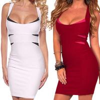 Sexy Dress Club 2014 Womens Celebrity Mini Bodycon Dress Patchwork Party Bandage Dresses Cute Bodysuit Dress 9192-5