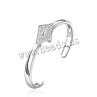 Free shipping!!!Brass Cuff Bangle,2014 new, , real silver plated, micro pave cubic zirconia, nickel, lead & cadmium free, 21mm