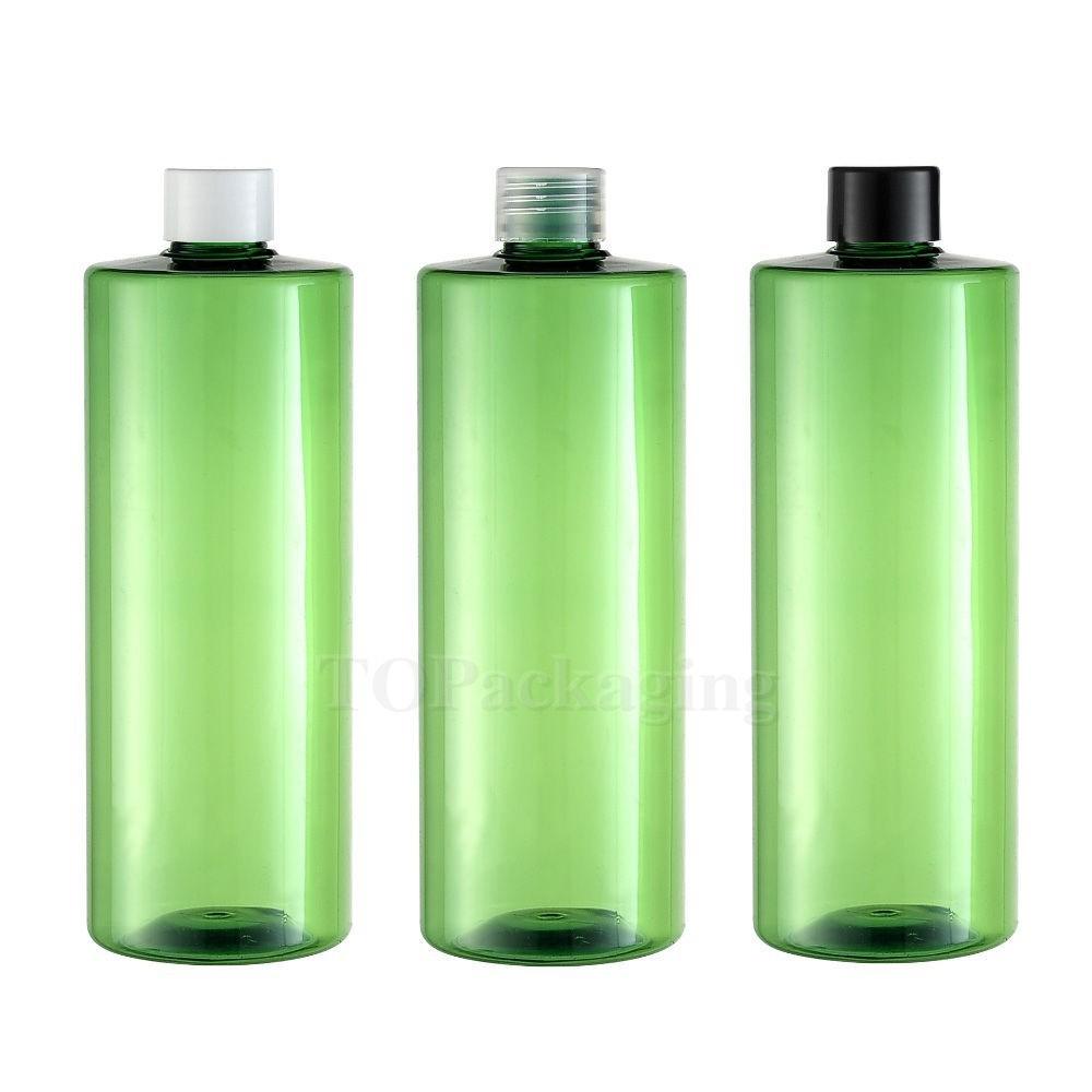 10PCS-500ML Screw Cap Bottle,Green Plastic Cosmetic Container,Sample Serum Sub-bottling,Empty Shampoo Bottle,Flat Shoulder(China (Mainland))