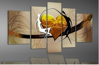 Home Decoration living room Abstract Oil Painting On Canvas Hand Painted Heart Modern Art 5pcs/set NB00079 Free Shipping