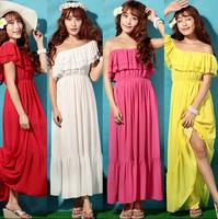 NEW 2015 women ruffles Bohemian long dress,vestidos femininos,tropical casual chiffon dress, plus size girl  dress M-4XL